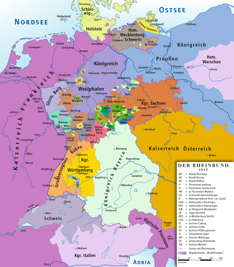 Rheinbund 1812 political map